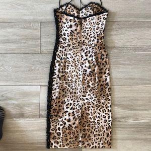 dina bar-el Dresses - Silk leopard and lace cocktail dress